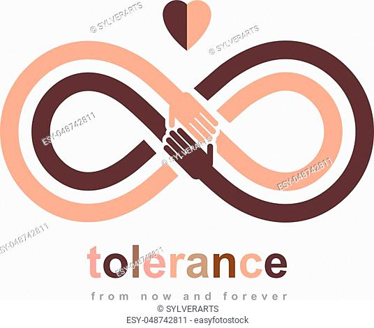 Racial Tolerance conceptual symbol, Martin Luther King Day, Zero tolerance, vector symbol created with infinity loop sign and two hands of people of different...