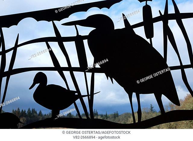 Metal bird silhouette, Tualatin River National Wildlife Refuge, Oregon