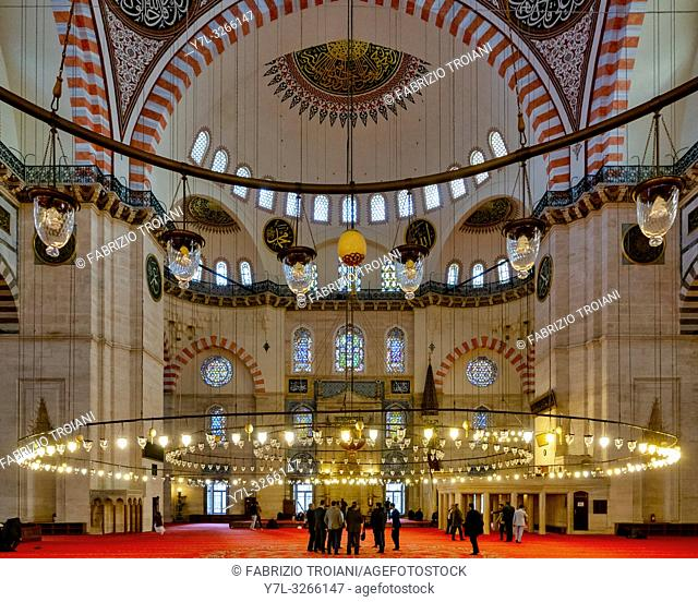 Interior of the Suleymaniye Mosque in Fatih, Istanbul,