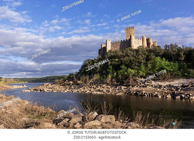 Medieval castle of Almourol, in the middle of the Tagus River. Praia do Ribatejo, Médio Tejo, Portugal