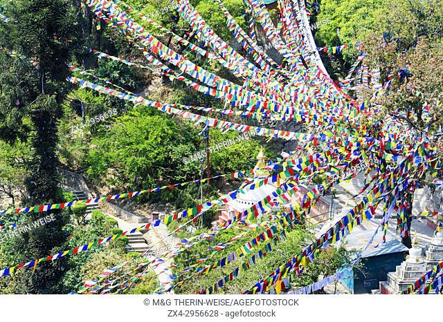 Prayer flags, Swayambunath or Monkey Temple, Unesco World Heritage Site, Kathmandu, Nepal, Asia