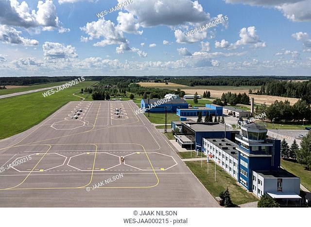 Estonia, small airport near Tartu, aerial view
