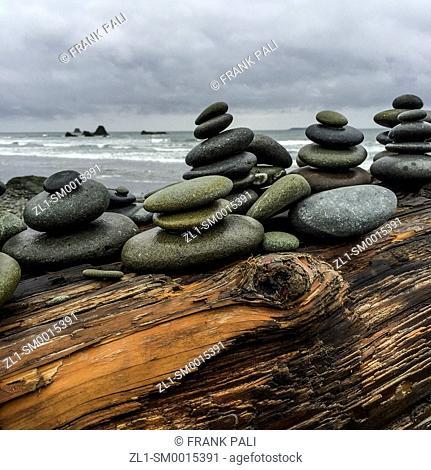 Close up of Rock Stacks by the Seashore.Ruby Beach, Olympic Peninsula, Washington USA 47°42'40' N 124°24'57' W