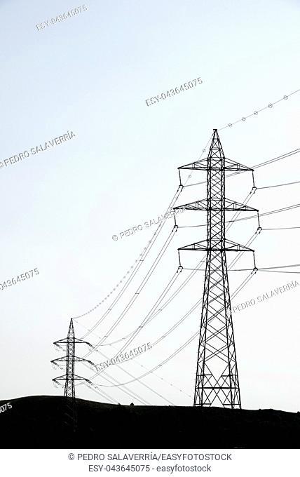 Power line in Soria Province, Castilla Leon, Spain