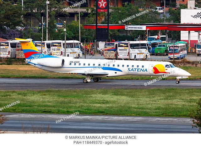Medellin, Colombia – January 25, 2019: Satena Embraer 145 airplane at Medellin Enrique Olaya Herrera airport (EOH) in Colombia. | usage worldwide