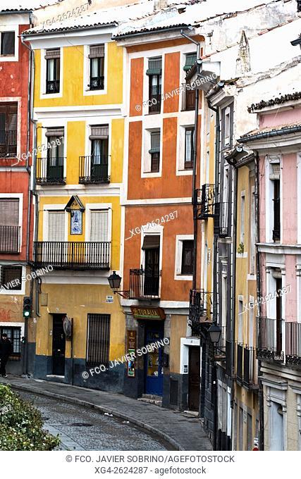 Fachadas coloreadas en la calle Alfonso VIII - Cuenca, Castile-La Mancha, Spain