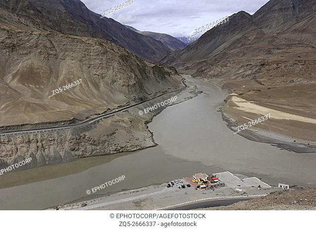 Confluence of Indus and Zanskar rivers, Ladakh, Jammu and Kashmir, India