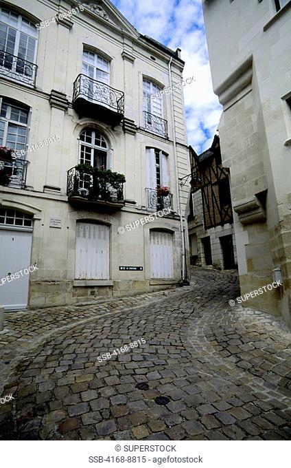 France, Loire Region, Chinon, Street Scene, Cobblestone Street