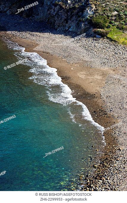 The beach at Scorpion Cove, Santa Cruz island, Channel Islands National Park, California USA