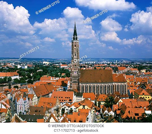 Germany, Landshut, Isar, Alpine foreland, Lower Bavaria, Bavaria, town panorama, St  Martins Church, Saint Martin Minster