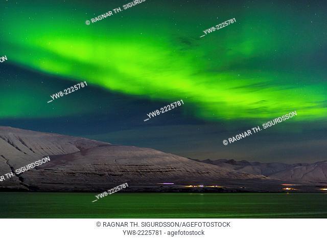 Aurora Borealis or Northern lights, Hvalfjordur, Iceland