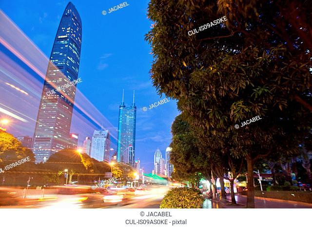 KK100 building, Shenzhen, early evening, long exposure, China