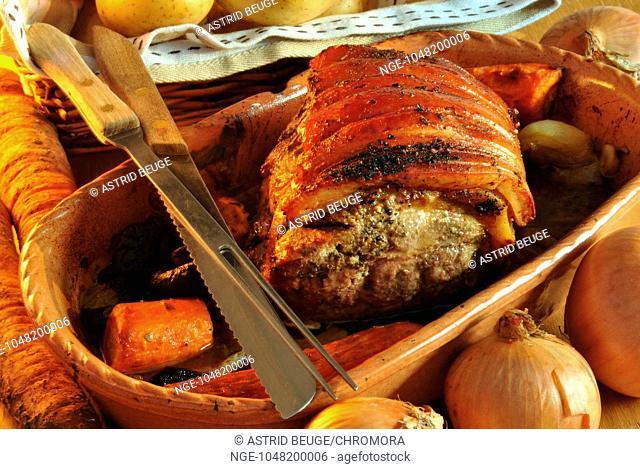 grilled pork with vegetable