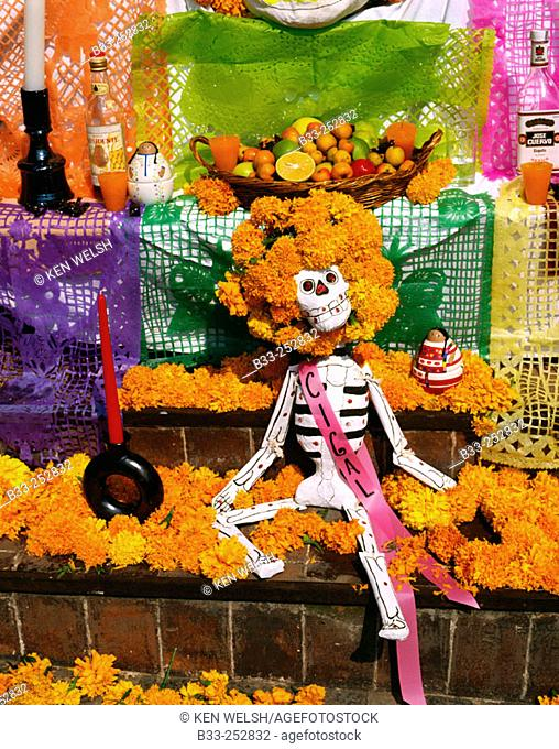 Altars honouring the dead on Day of the Dead. Mexico City