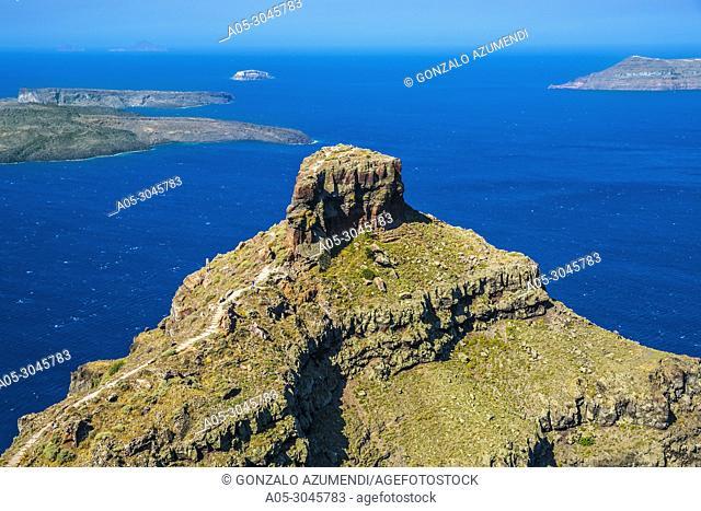 View of the caldera and Skaros rock . Imerovigli. Santorini Island. Ciclades Islands. Greece