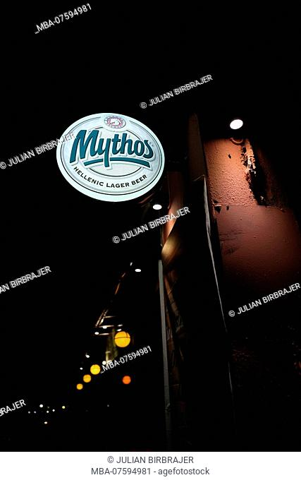 Europe, Greece, Corfu, Mythos bar sign