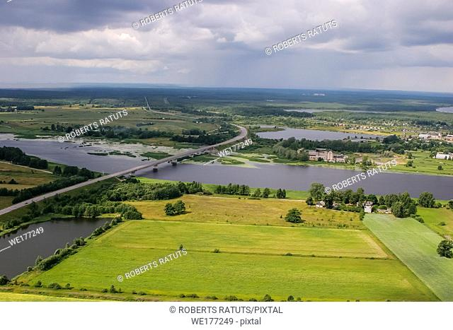 Aerial view of river Lielupe bridge, Latvia. Latvia from above