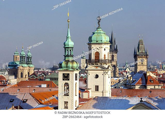 Towers and rooftops of Old Town, Clementinum, Prague, Czech Republic