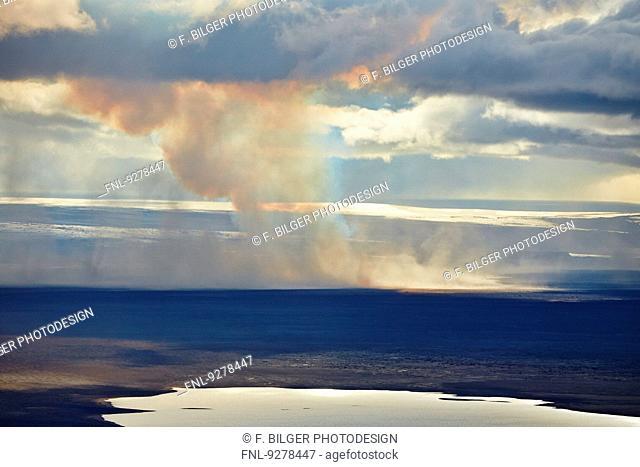 Volcano Bardarbunga, sand storm at lava field Holuhraun at Sept 2nd 2014, Iceland