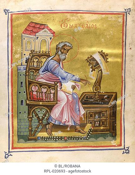 St Matthew seated, writing his gospel Image taken from Gospels. Originally published/produced in Constantinople, second half of 10th century