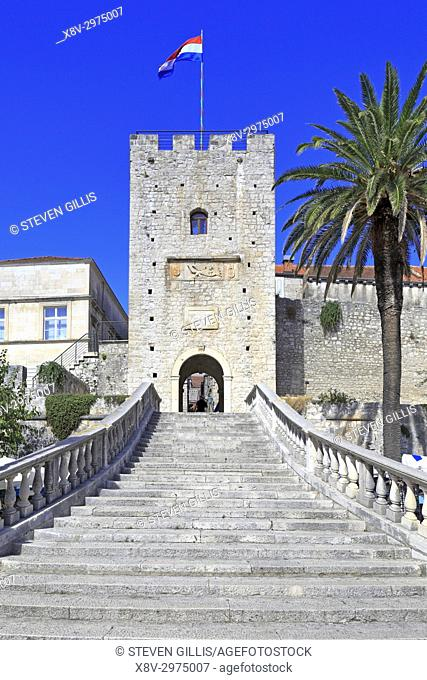 Staircase and Tower Revelin or Land Gate, Korcula Town, Korcula Island, Croatia, Dalmatia, Dalmatian Coast, Europe