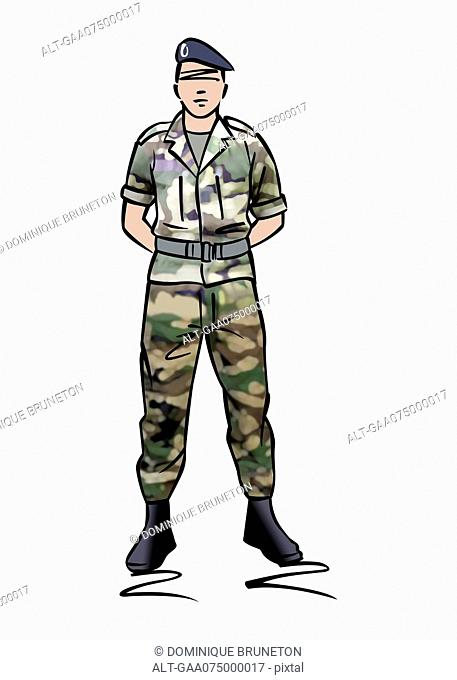 Illustration of a soldier dressed in camouflage