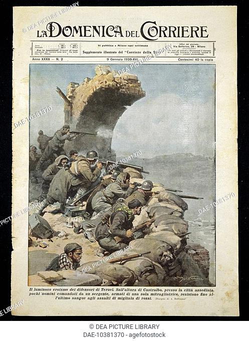 The Battle of Teruel during the Spanish Civil War. Achille Beltrame (1871-1945) from La Domenica del Corriere, January 9, 1938