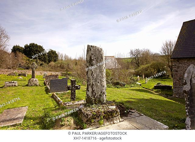 Graveyard of the Church of St  Decumanus, Rhoscrowther, Hundleton, Pembrokeshire, Wales, UK