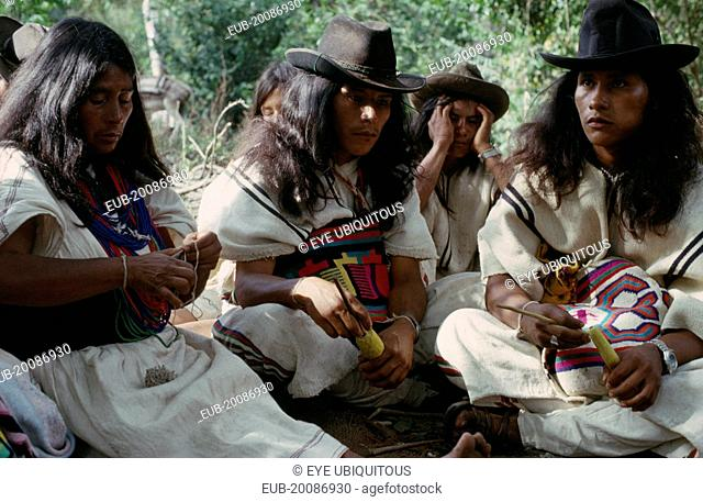 Ika widow and sons at mortuary rites being performed in Guatapuri valley for her husband an Ika leader murdered by right-wing paramilitaries linked to the...