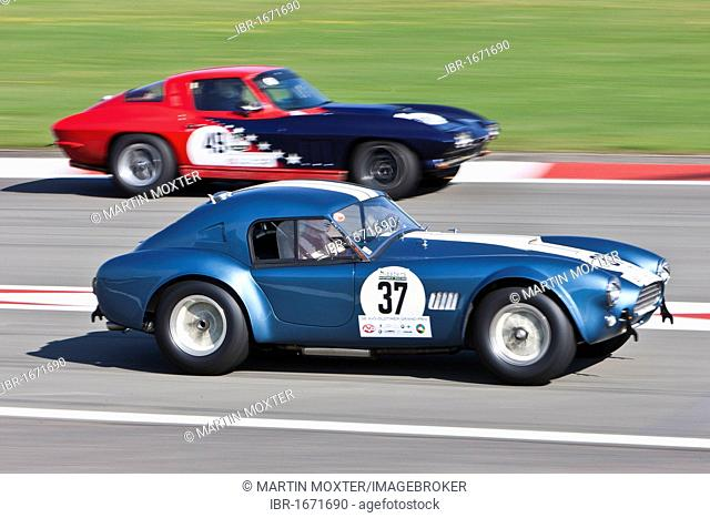 Race of post-war racing cars, Cobra and Corvette, at the Oldtimer Grand Prix 2010 on the Nurburgring race track, Rhineland-Palatinate, Germany, Europe