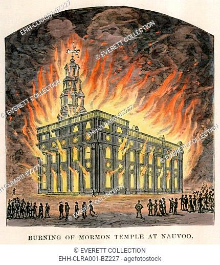 Arsonists set a fire that burned out the stone Mormon Temple in Nauvoo on the night of October 8-9, 1848. The Temple was completed in 1846
