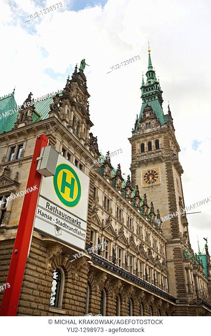 Town Hall of Hamburg and undergound sign of Rathausmarkt station