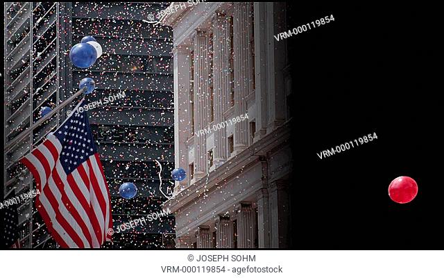 American flag and confetti at Tickertape Parade, New York