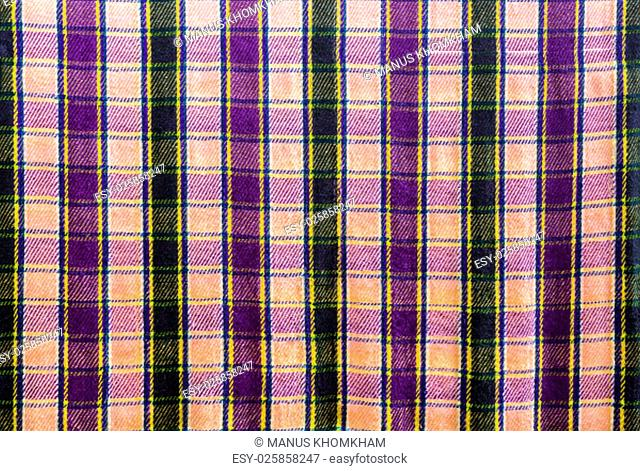 Closeup pattern of checkered on fabric background