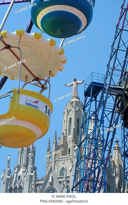 Tibidabo, church and amusement park, Barcelona, Spain