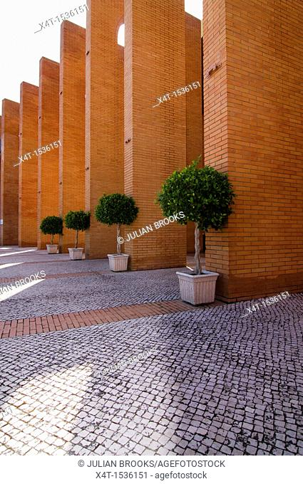 Orange trees outside the FIBES conference centre, Seville Spain  Simple graphic construct