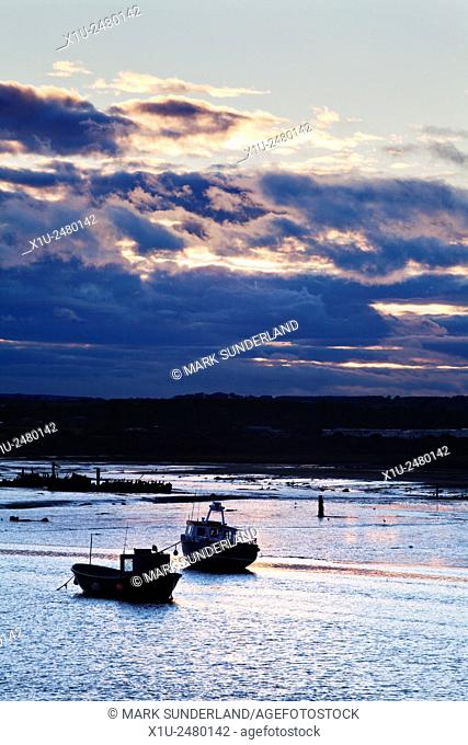 Fishing Boats in the Coquet Estuary at Dusk Amble by the Sea Northumberland England