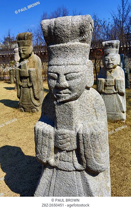 Statues of Civil Officials from the Joseon Period at National Folk Museum at Gyeongbokgung Palace in Seoul, Korea