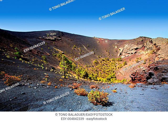 Crater in La Palma San Antonio volcano Fuencaliente at Canary islands
