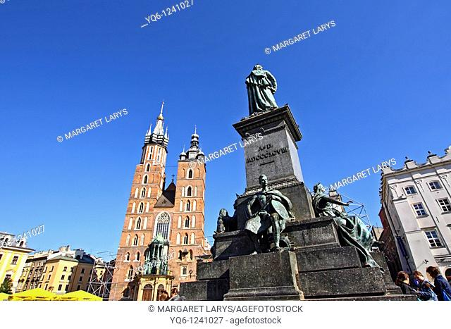 Adam Mickiewicz monument and St' Mary's Basilica, Main Market Square, Old Town, Krakow, Poland, Europe