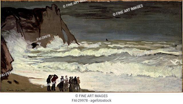 Grosse mer à Etretat by Monet, Claude (1840-1926)/Oil on canvas/Impressionism/c. 1869/France/Musée d'Orsay, Paris/66x131/Landscape/Painting/Grosse mer à Etretat...