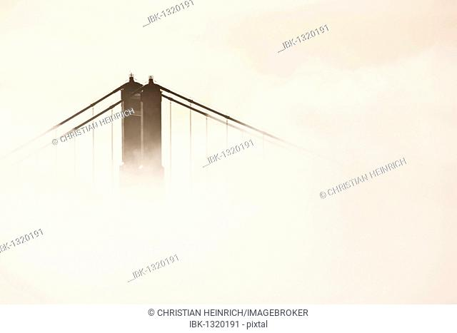 Bridge piers of the Golden Gate Bridge in Fog, San Francisco, California, USA, America