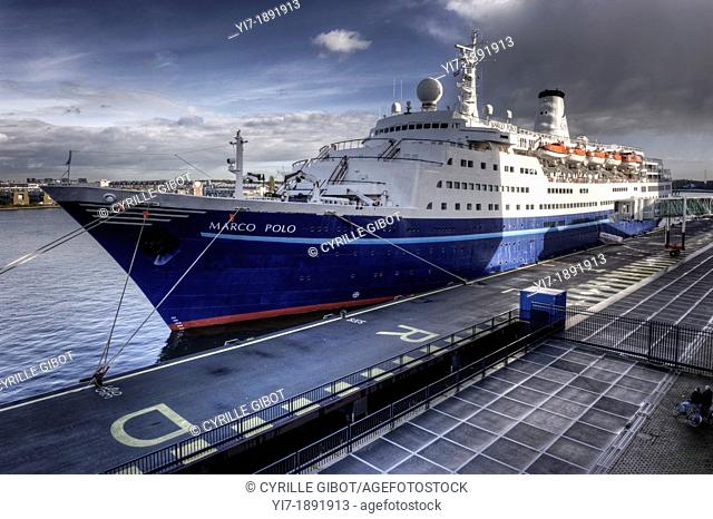 Cruise ship Marco Polo berthed at the port of Amsterdam
