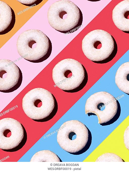Doughnuts on colourful background