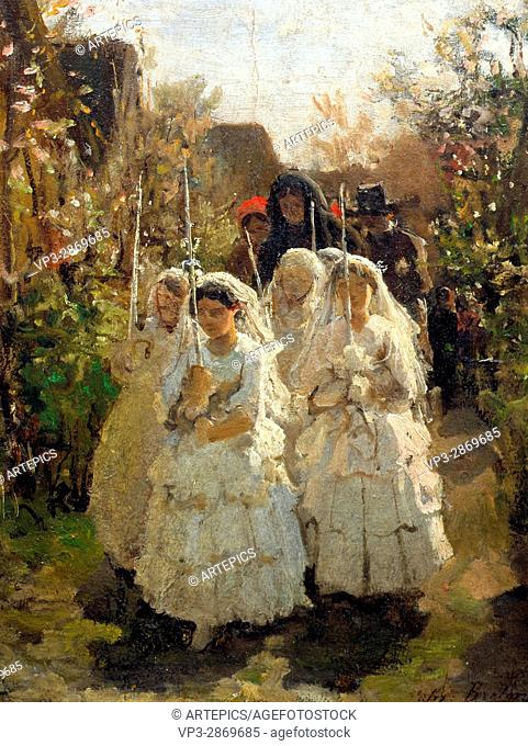 Breton Jules . Girls making their First Communion, in Courrieres . Petit Palais Museum - Paris