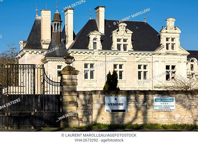 Castle For Sale. Chinon District, Indre et Loire department, Central Region, Loire Valley, France, Europe