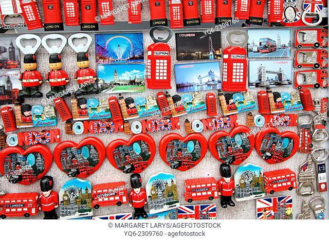 British souvenirs sold in the streets of London, UK, Europe
