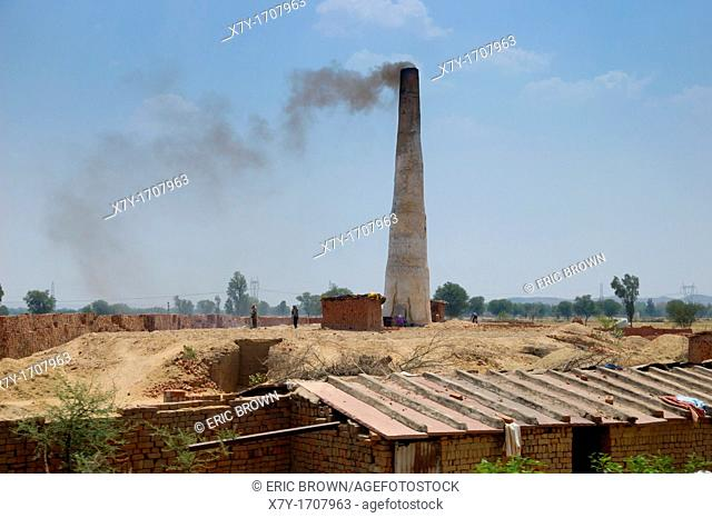 A brick factory along highway 11 between Fatehpur Sikri and Agra  Uttar Pradesh, India