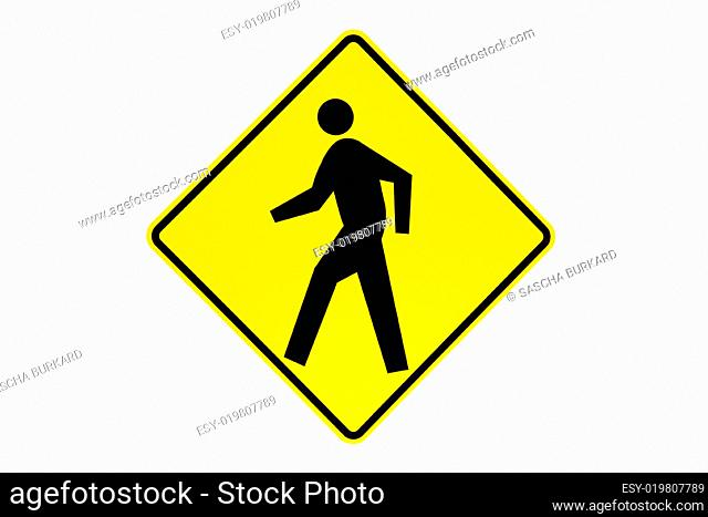 pedestrian crossing sign isolated