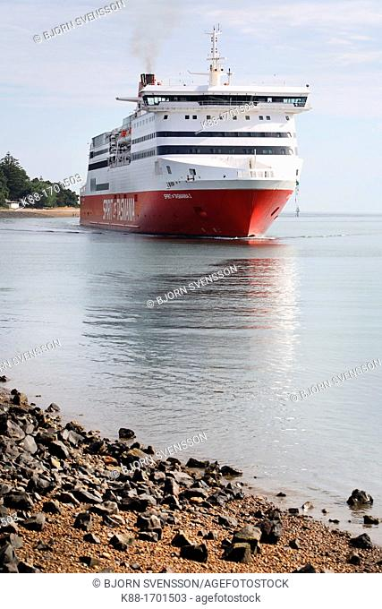 The Spirit of Tasmania enters Devonport harbor, Tasmania  It is the only ferry link between Tasmania and Mainland Australia